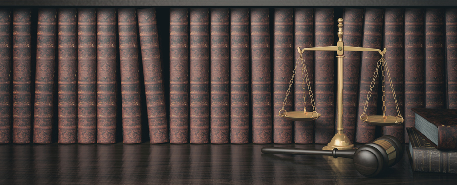 books, scales, and gavel